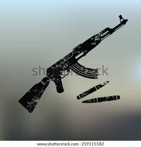 Weapon design on blur background,grunge vector - stock vector