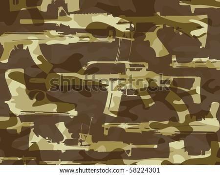 Weapon gun desert camouflage - stock vector