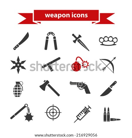 weapon icons - stock vector