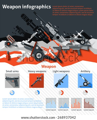 Weapon infographics set with military machines army artillery and charts vector illustration - stock vector