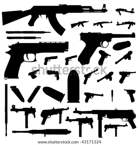 weapon silhouette set - stock vector