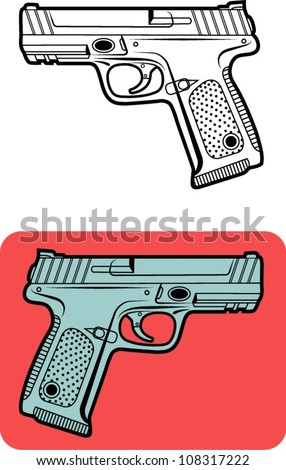 Weapon vector 1. Gun vector illustration, for game or any design you want. Easy to change color - stock vector