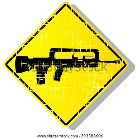 weapon warning sign. vector illustration 3 - stock vector