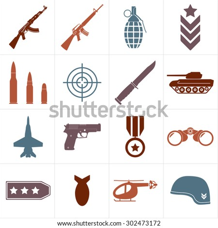 Weapons and military icon set isolated on white background. Symbolics and badge for army. Colorful vector illustration. - stock vector