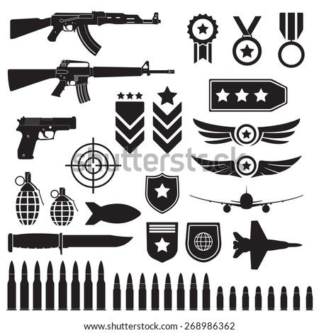 Weapons and military set. Sub machine guns, pistol and bullets black icons isolated on white background. Symbolics and badge for army. Vector illustration. - stock vector