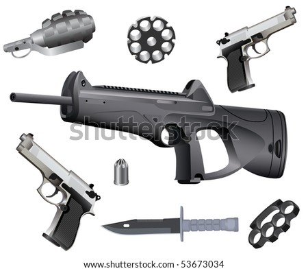 Weapons collection isolated on white background. - stock vector