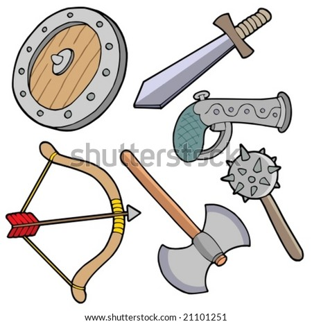 Weapons collection - vector illustration. - stock vector