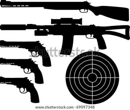 weapons silhouettes and target. vector illustration - stock vector