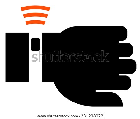 Wearable fitness device icon - stock vector