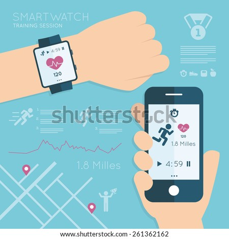 Wearable. Vector running app on the screen of mobile phone and smartwatch. Modern technology equipment for monitoring the health - illustration in flat style - stock vector