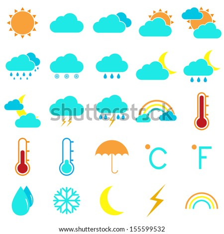 Weather and climate color icons on white background, stock vector - stock vector