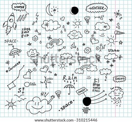 Weather and space hand drawn doodles - stock vector