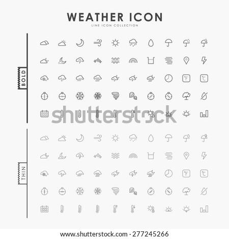 weather bold and thin line icons - stock vector