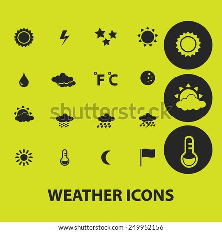 weather, climate icons, signs, illustrations on background set, vector - stock vector