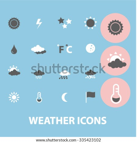 weather, climate icons, signs vector concept set for infographics, mobile, website, application  - stock vector