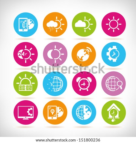 weather, clock icons, round web button set - stock vector