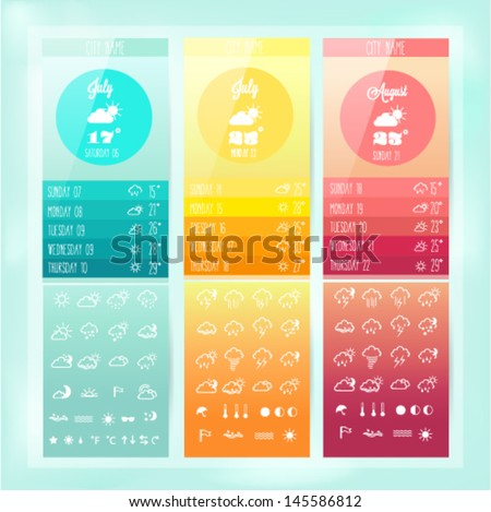 Weather colorful  icon set - stock vector