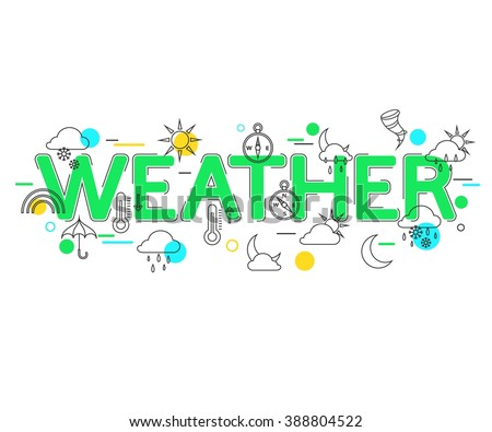 Weather Concept with vector icons and elements. Weather Forecast. Weather icons. Weather Banner.  Flat Style, Thin Line Art Design. Vector illustrator. - stock vector