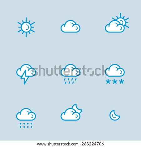 Weather conditions icons vector line style