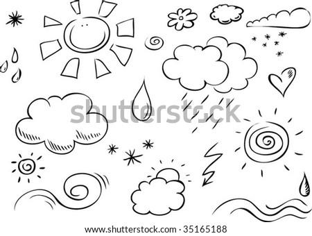 weather doodles - stock vector