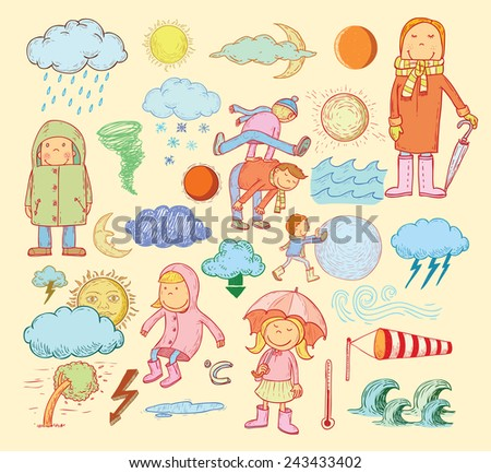 weather elements, vector illustration. - stock vector