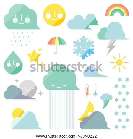 Weather elements (vector version) - stock vector