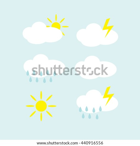 Weather flat icons set illustration - stock vector