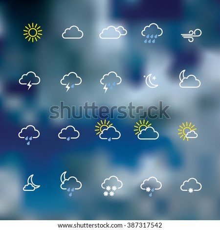 Weather forecast icons vector illustration. - stock vector