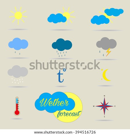 Weather forecast icons. Vector illustration. - stock vector