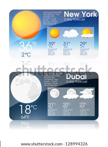 Weather forecast interface eps10 - stock vector