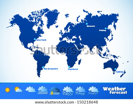 Weather forecast vector illustration map continents stock vector weather forecast vector illustration map of the continents of the earth aspect ratio of gumiabroncs Image collections