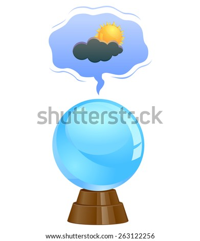 Weather forecasting through a crystal ball - stock vector