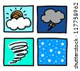 Weather Hand draw cartoon.Illustrator - stock photo