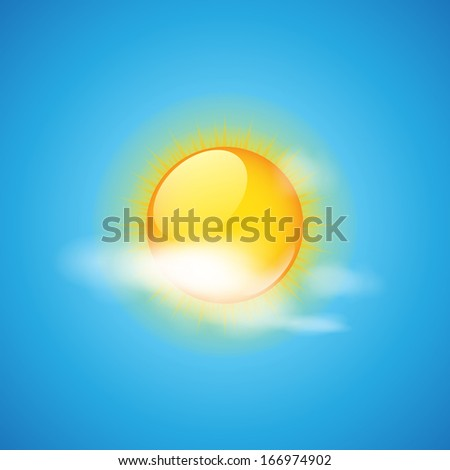 Weather icon - cloud and sun vector illustration - stock vector