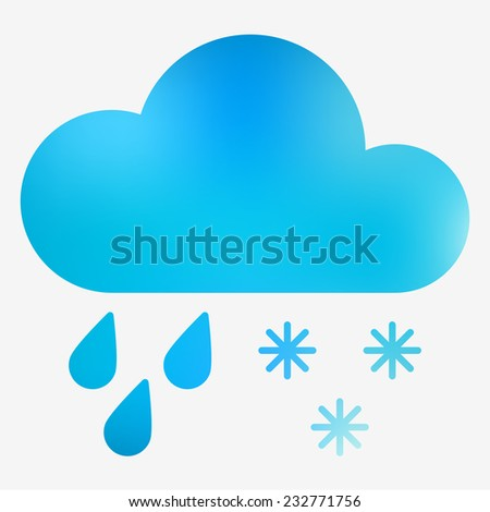 Weather icon. Cloud, raindrops and snowflakes. Vector illustration. Weather forecast  for web application or print. - stock vector