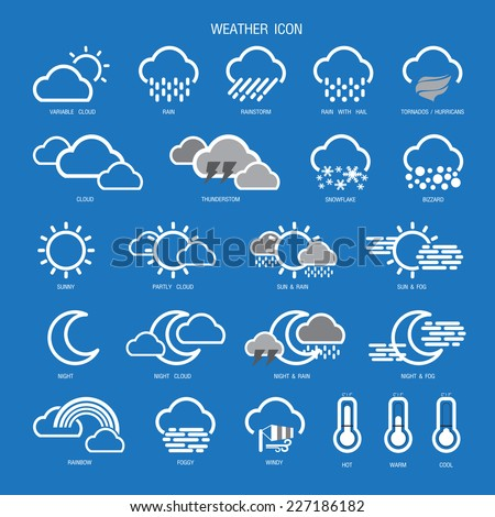 Weather Icon Outline Set Collection.Vector illustration.