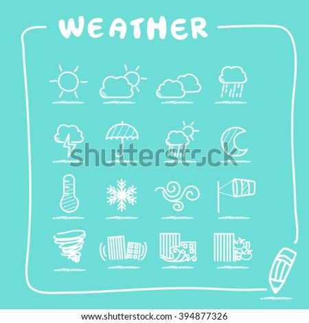 Weather icon set collection - doodle Series - stock vector