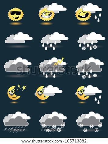 weather icon set copy - stock vector