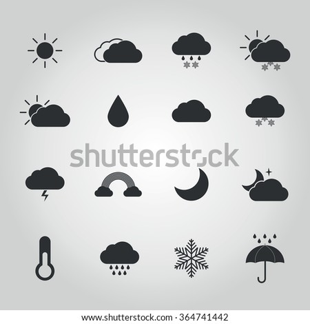 Weather icon set for weather forecasting apps or similar in modern flat black style