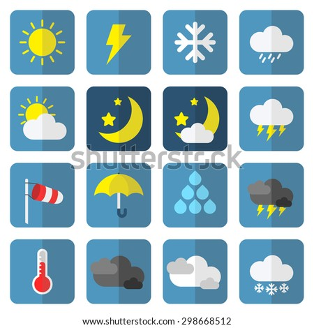 weather icon set in flat style - stock vector