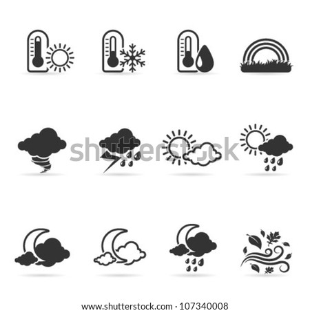 Weather icon set  in single color. Transparent shadows placed on separated layer.