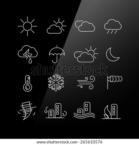 Weather icon set - Linear Series - stock vector