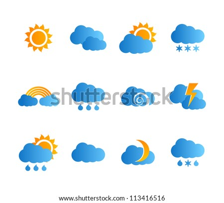 Weather icon set . Vector illustration