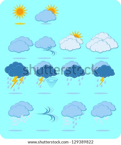 Weather icon sign set - stock vector