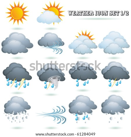 Weather icon sign set isolated on white vector - stock vector
