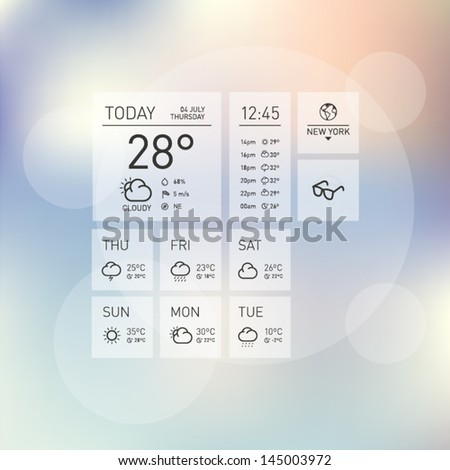 Weather Icon Template Layout with Colorful Shiny Background - stock vector