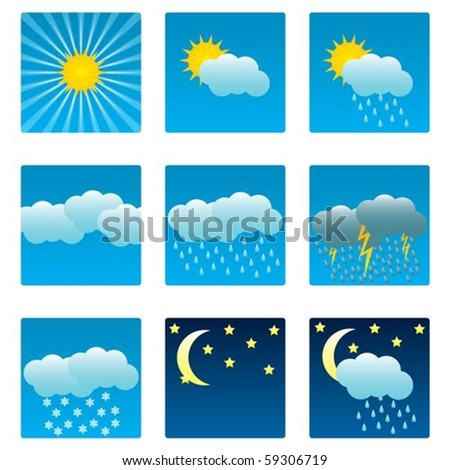 Weather icons and illustrations set - stock vector