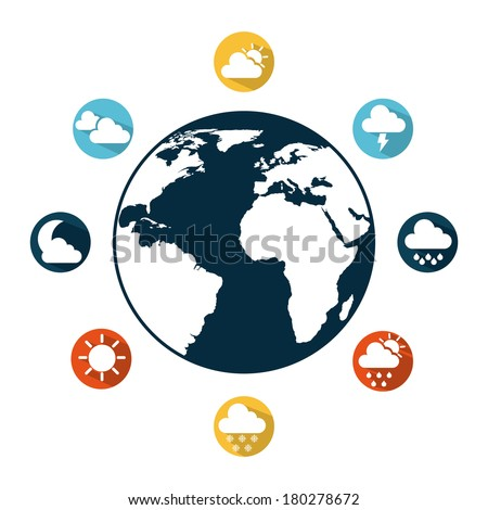 Weather icons around the world icon, vector illustration