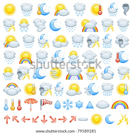Weather icons, arrows for wind direction and weather icon parts to create Your own icons - stock vector