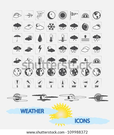 Weather Icons for day and night forecasting, for web and print applications. Vector illustration. - stock vector